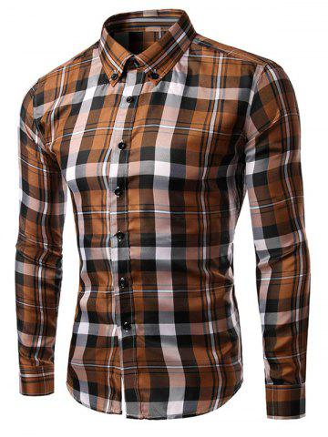 Trendy Slim Fit Long Sleeves Plaid Button-Down Shirt COFFEE L