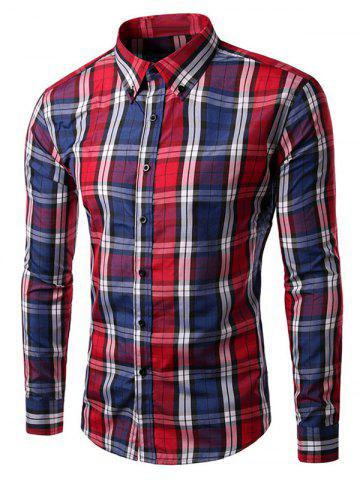 Hot Slim Fit Long Sleeve Button-Down Checked Shirt RED 3XL