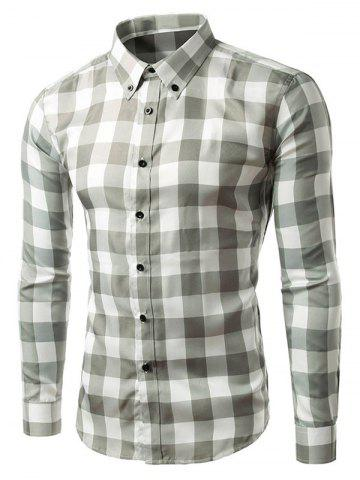 Online Slim Fit Long Sleeve Grid Button-Down Shirt GRAY L