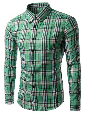 Fancy Long Sleeve Gingham Button-Down Shirt GRASS GREEN 2XL