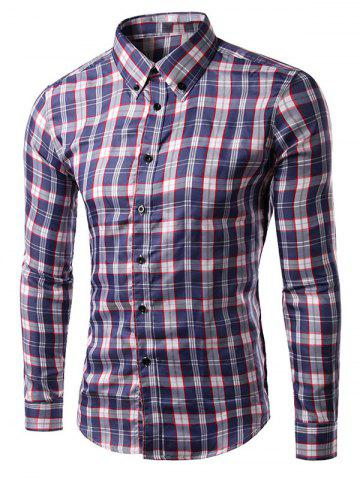 Latest Turn-down Collar Long Sleeve Gingham Shirt RED 2XL