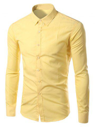 Buy Candy Color Turn-down Collar Long Sleeves Shirt