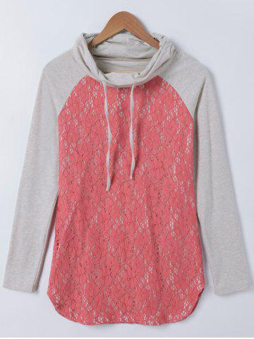 Fashion Lace Splicing Cowl Neck Tee
