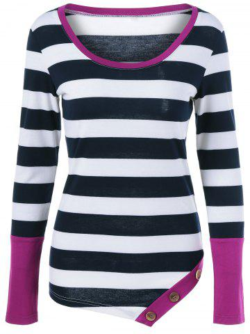 Buy Button Embellished Asymmetric Long Sleeve Striped T-Shirt HOT PINK M