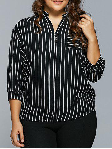 Shops Front Pocket Buttoned Striped Blouse