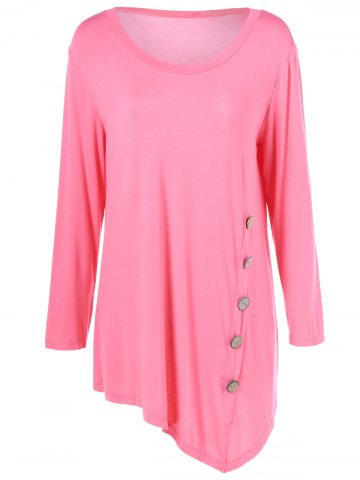 Chic Plus Size Inclined Buttoned Blouse LIGHT PINK XL