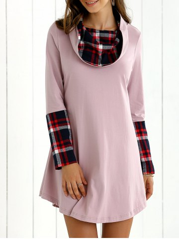 Sale Plaid Splicing Long Sleeves Dress