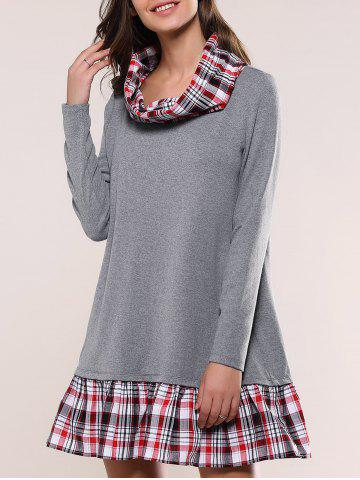 Affordable Plaid Splicing Casual Dress