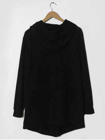 Affordable Drawstring Waist Long Sleeve Hooded Longline Coat - XL BLACK Mobile