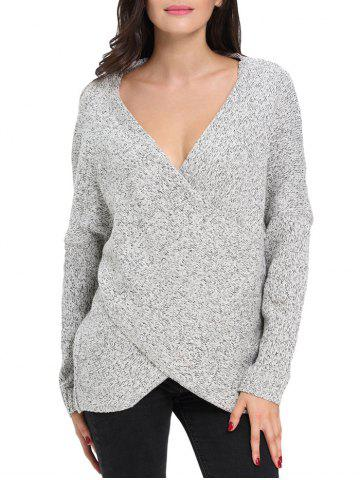 Buy Chunky Cross Wrap Plunging Neck Pullover Sweater GRAY L