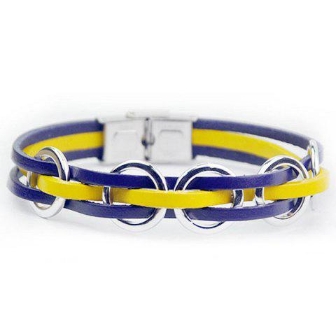Shops Hand Crafted Woven Faux Leather Ring Bracelet BLUE