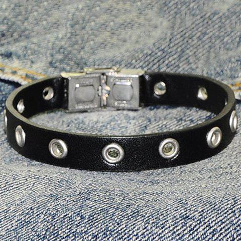 Discount Hollow Ring Charm Faux Leather Bracelet BLACK