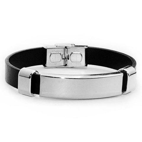 Unique Stainless Steel Faux Leather Bracelet