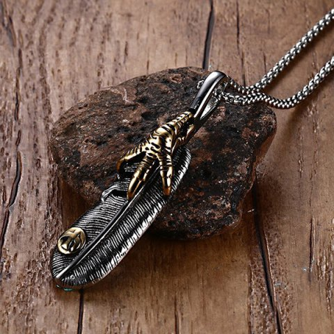 Discount Burnished Falcon Talon Feather Necklace - SILVER GRAY  Mobile