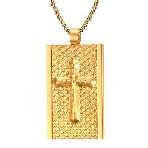 Buy Rectangle Rhombus Embellished Cross Necklace GOLDEN