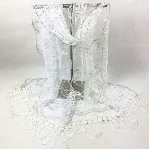 Online Dentelle Flower Feather Fringe Lace Scarf - WHITE  Mobile