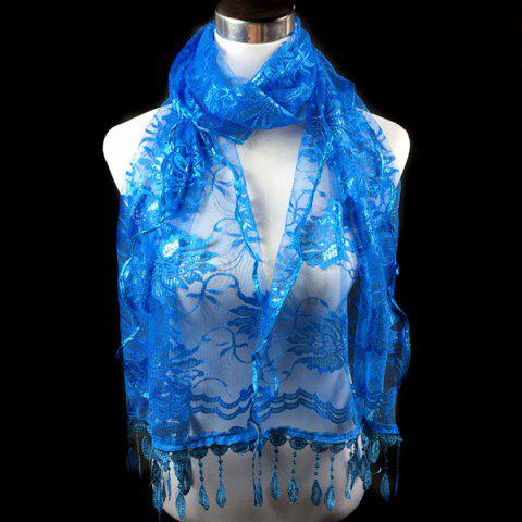 Unique Dentelle Flower Feather Fringe Lace Scarf