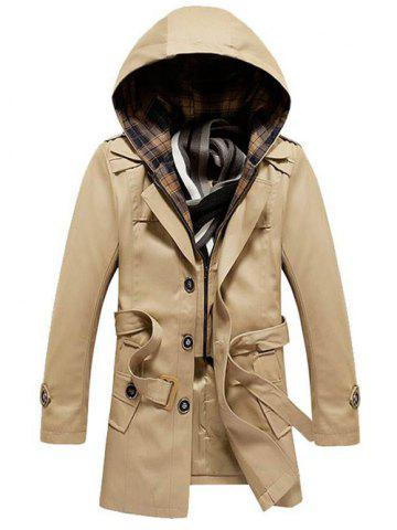 Hot Detachable Hooded Epaulet and Belt Embellished Single-Breasted Coat