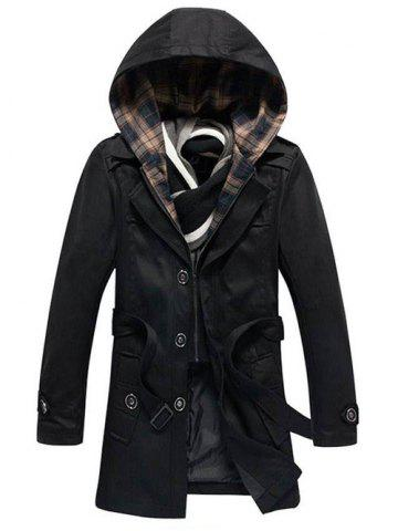 Detachable Hooded Epaulet and Belt Embellished Single-Breasted Coat - Black - M