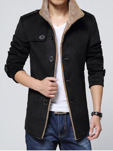 Affordable Epaulet Embellished Single-Breasted Turn-Down Collar Fleece Coat