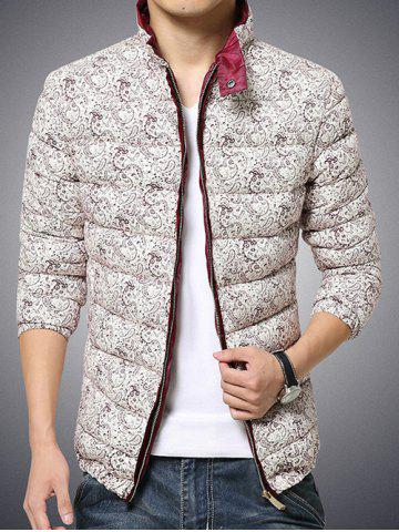 Outfits Plus Size Stand Collar Paisley Print Zip-Up Cotton-Padded Jacket