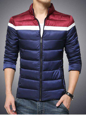 Shop Plus Size Stand Collar Color Block Zip-Up Cotton-Padded Jacket