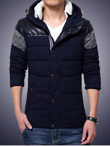 New Plus Size Hooded PU-Leather Splicing Zip-Up Cotton-Padded Jacket