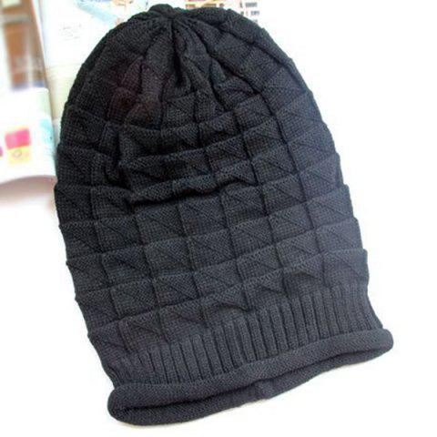 Fancy Triangle Jacquard Knitted Slouchy Beanie - BLACK  Mobile