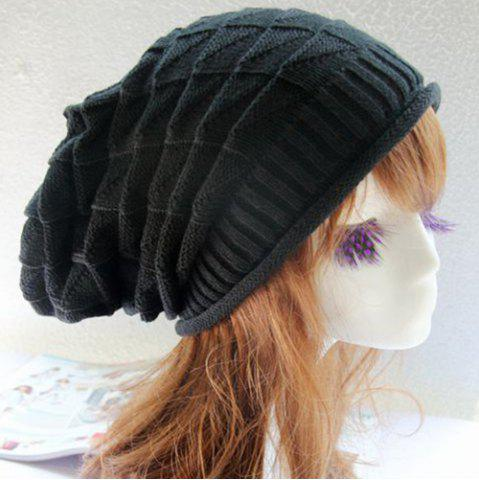 Triangle Jacquard Knitted Slouchy Beanie - BLACK