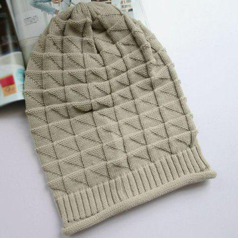 Store Triangle Jacquard Knitted Slouchy Beanie - OFF-WHITE  Mobile