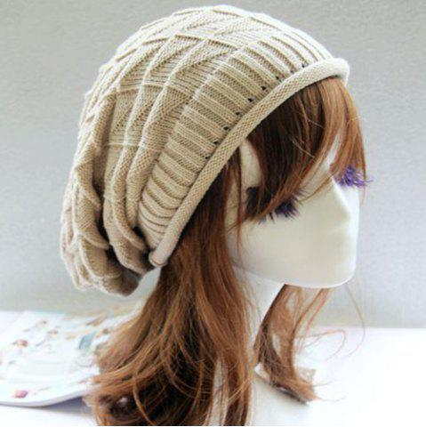 Fancy Triangle Jacquard Knitted Slouchy Beanie - OFF-WHITE  Mobile