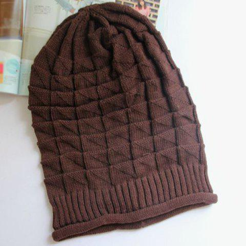 Buy Triangle Jacquard Knitted Slouchy Beanie - COFFEE  Mobile