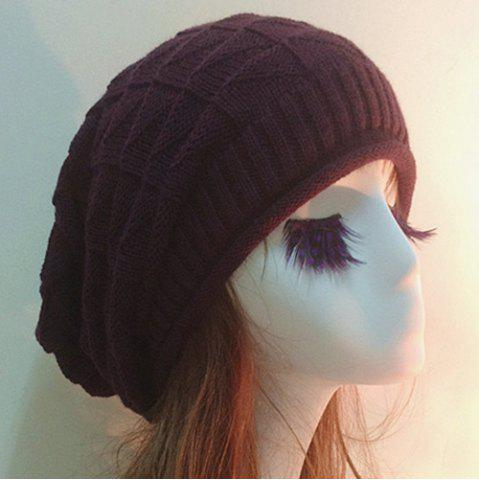 Store Triangle Jacquard Knitted Slouchy Beanie - COFFEE  Mobile
