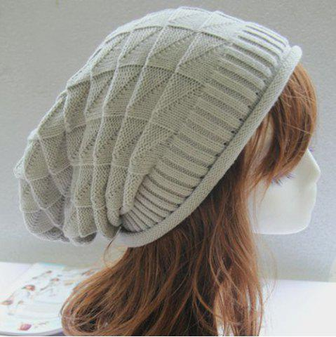 Buy Triangle Jacquard Knitted Slouchy Beanie - LIGHT GRAY  Mobile