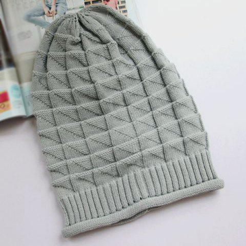 Outfit Triangle Jacquard Knitted Slouchy Beanie - LIGHT GRAY  Mobile