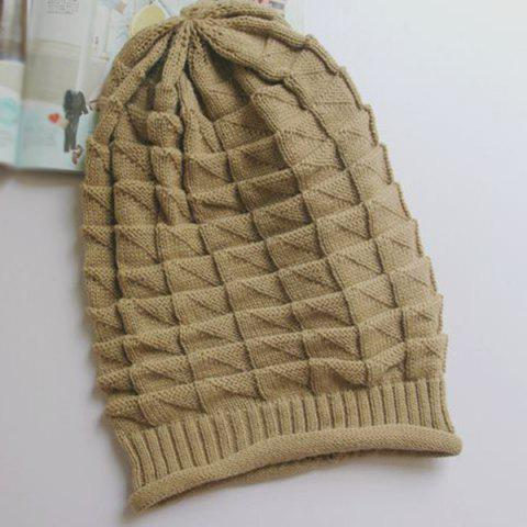 Latest Triangle Jacquard Knitted Slouchy Beanie - CAMEL  Mobile