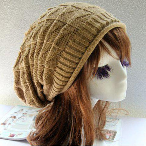 Outfit Triangle Jacquard Knitted Slouchy Beanie - CAMEL  Mobile
