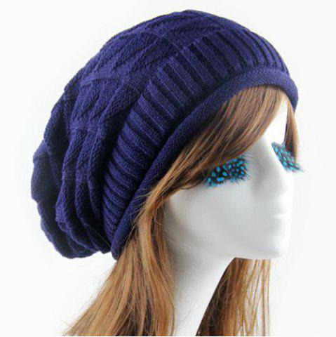 Latest Triangle Jacquard Knitted Slouchy Beanie - CADETBLUE  Mobile