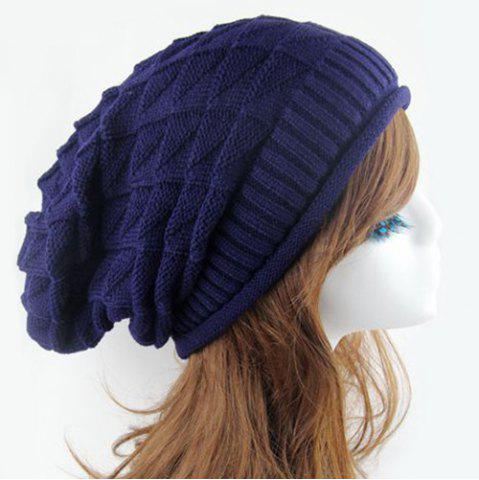 Outfits Triangle Jacquard Knitted Slouchy Beanie - CADETBLUE  Mobile