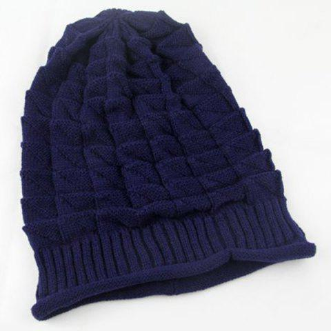 New Triangle Jacquard Knitted Slouchy Beanie - CADETBLUE  Mobile