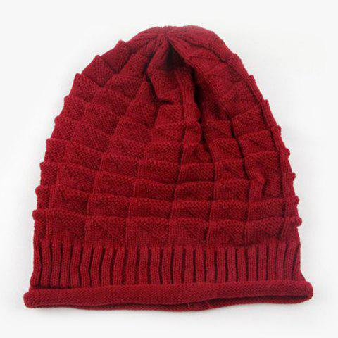 New Triangle Jacquard Knitted Slouchy Beanie -   Mobile