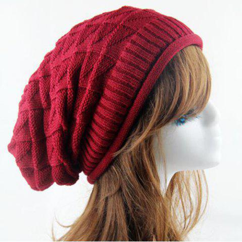 Outfits Triangle Jacquard Knitted Slouchy Beanie -   Mobile