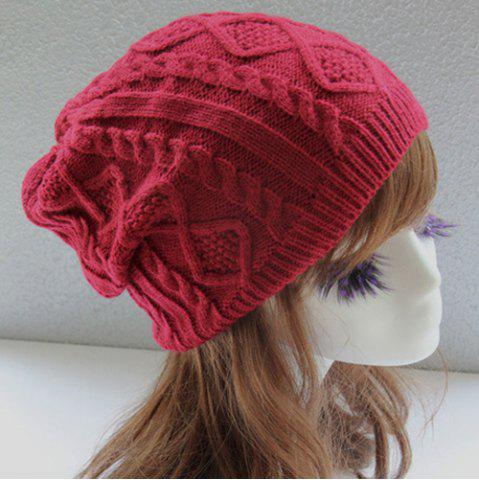 Affordable Hemp Flowers Slouchy Acrylic Knit Beanie Hat - CLARET  Mobile