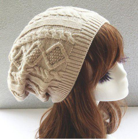 Cheap Hemp Flowers Slouchy Acrylic Knit Beanie Hat - OFF-WHITE  Mobile