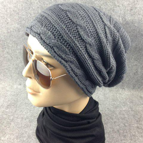Trendy Traverse Hemp Flowers Knitted Slouchy Beanie - GRAY  Mobile