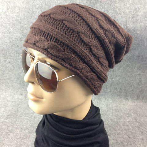 Unique Traverse Hemp Flowers Knitted Slouchy Beanie - COFFEE  Mobile