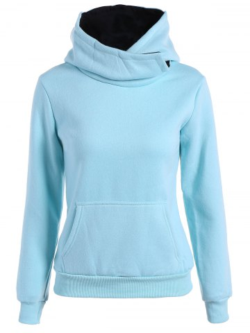 Concise Big Pocket Pullover Hoodie - Light Blue - M