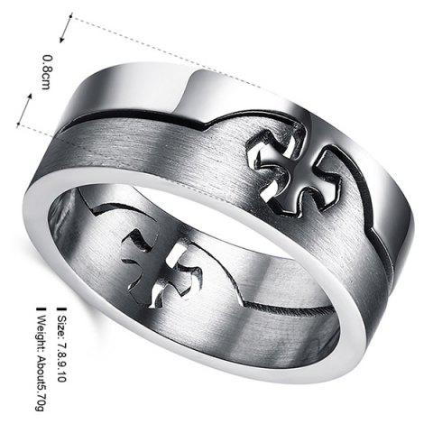 Outfits Detachable Cross Titanium Steel Ring - SILVER  Mobile