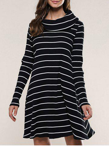 Latest Striped Long Sleeve Knitted Dress