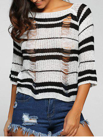 Fancy Round Neck Striped Jumper Ripped Sweater BLACK ONE SIZE